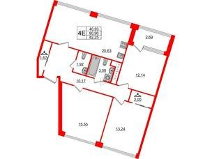 Квартира в ЖК Golden City, 3 комнатная, 82.25 м², 3 этаж