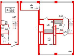 Квартира в ЖК Golden City, 2 комнатная, 86.38 м², 4 этаж