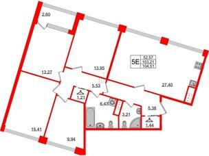 Квартира в ЖК Golden City, 4 комнатная, 104.51 м², 3 этаж