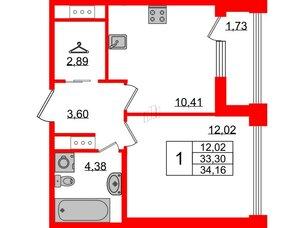 Квартира в ЖК Golden City, 1 комнатная, 34.16 м², 4 этаж