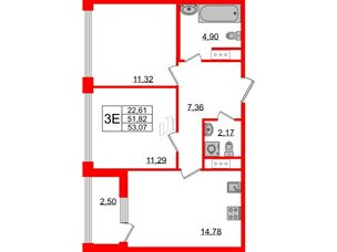 Квартира в ЖК Golden City, 2 комнатная, 53.07 м², 4 этаж