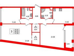 Квартира в ЖК Golden City, 3 комнатная, 91.99 м², 3 этаж