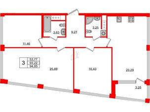Квартира в ЖК Golden City, 3 комнатная, 94.85 м², 9 этаж