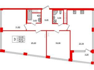 Квартира в ЖК Golden City, 3 комнатная, 94.3 м², 16 этаж