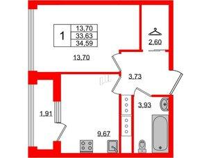 Квартира в ЖК Golden City, 1 комнатная, 34.59 м², 17 этаж