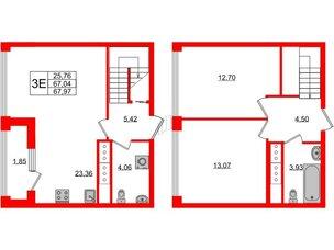 Квартира в ЖК Golden City, 2 комнатная, 67.97 м², 19 этаж