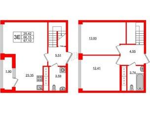 Квартира в ЖК Golden City, 2 комнатная, 67.1 м², 19 этаж