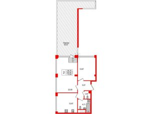 Квартира в ЖК Golden City, 2 комнатная, 73.09 м², 11 этаж
