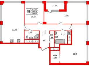 Квартира в ЖК Golden City, 3 комнатная, 103.55 м², 18 этаж