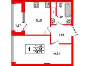 Квартира в ЖК Golden City, 1 комнатная, 34.74 м², 7 этаж