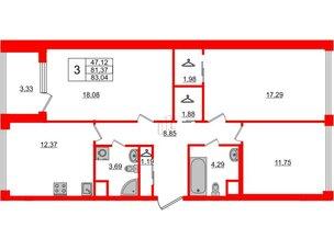 Квартира в ЖК Golden City, 3 комнатная, 83.04 м², 4 этаж
