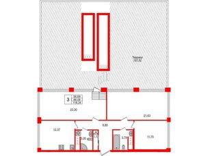 Квартира в ЖК Golden City, 3 комнатная, 118.34 м², 9 этаж