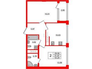 Квартира в ЖК Golden City, 2 комнатная, 53.2 м², 7 этаж