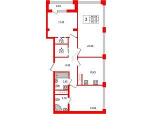 Квартира в ЖК Golden City, 3 комнатная, 76.17 м², 13 этаж