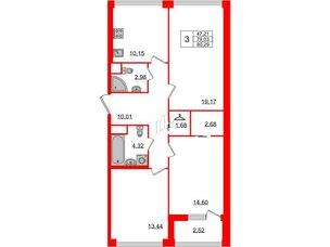 Квартира в ЖК Golden City, 3 комнатная, 80.29 м², 2 этаж