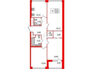 Квартира в ЖК Golden City, 3 комнатная, 79.33 м², 3 этаж