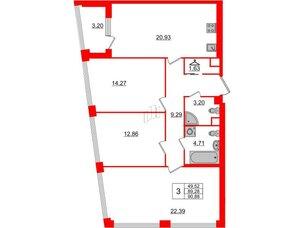 Квартира в ЖК Golden City, 3 комнатная, 90.88 м², 3 этаж