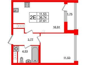 Квартира в ЖК Golden City, 1 комнатная, 37.61 м², 7 этаж