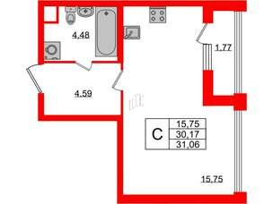 Квартира в ЖК Golden City, студия, 31.06 м², 2 этаж