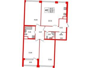Квартира в ЖК Golden City, 3 комнатная, 96.91 м², 2 этаж