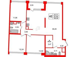 Квартира в ЖК Golden City, 3 комнатная, 99.36 м², 2 этаж