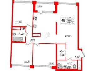 Квартира в ЖК Golden City, 3 комнатная, 98.43 м², 7 этаж