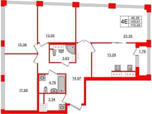 Квартира в ЖК Golden City, 4 комнатная, 110.49 м², 19 этаж