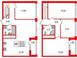 Квартира в ЖК Golden City, 4 комнатная, 104.63 м², 19 этаж
