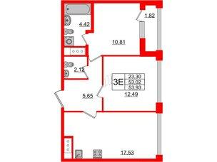 Квартира в ЖК Golden City, 2 комнатная, 53.93 м², 4 этаж