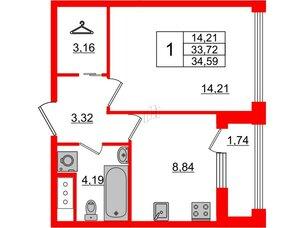 Квартира в ЖК Golden City, 1 комнатная, 34.59 м², 9 этаж