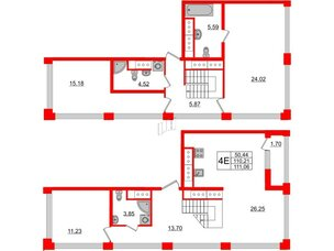 Квартира в ЖК Golden City, 3 комнатная, 111.06 м², 19 этаж