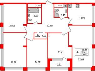 Квартира в ЖК Golden City, 5 комнатная, 130.57 м², 11 этаж