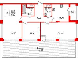 Квартира в ЖК Golden City, 3 комнатная, 95.89 м², 13 этаж