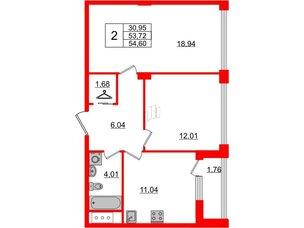 Квартира в ЖК Golden City, 2 комнатная, 54.6 м², 6 этаж
