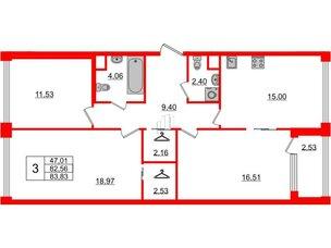 Квартира в ЖК Golden City, 3 комнатная, 83.83 м², 4 этаж