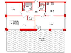 Квартира в ЖК Golden City, 3 комнатная, 109.09 м², 9 этаж