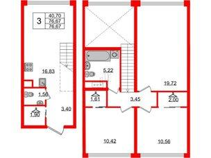 Квартира в ЖК Golden City, 3 комнатная, 76.67 м², 2 этаж