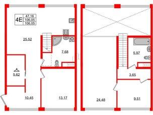 Квартира в ЖК Golden City, 3 комнатная, 106.05 м², 4 этаж
