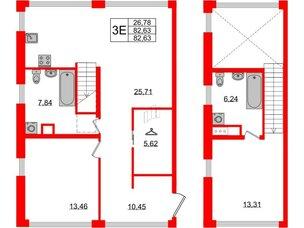 Квартира в ЖК Golden City, 2 комнатная, 82.63 м², 2 этаж