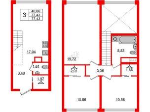 Квартира в ЖК Golden City, 3 комнатная, 77.43 м², 2 этаж