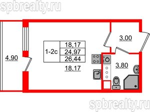 Студия 24.97 м²