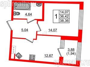 1 комн. кв. 38.36 м²