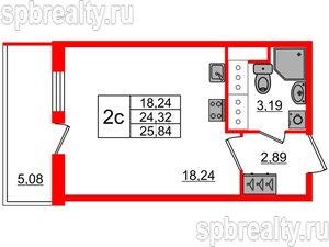 Студия 24.32 м²