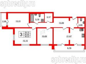 3 комн. кв. 91 м²