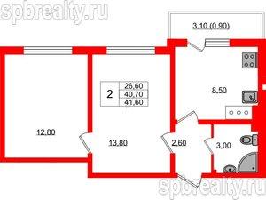 2 комн. кв. 41.6 м²