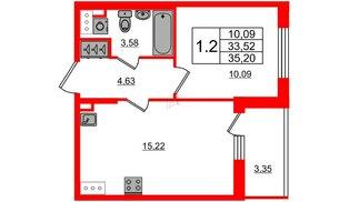 Квартира в ЖК «Солнечный город», 1 комнатная, 33.52 м², 2 этаж
