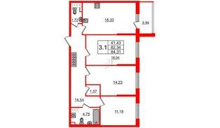 Квартира в ЖК «Солнечный город», 3 комнатная, 82.34 м², 8 этаж