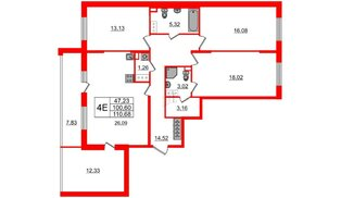 Квартира в ЖК «Солнечный город», 3 комнатная, 100.6 м², 2 этаж