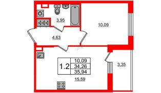 Квартира в ЖК «Солнечный город», 1 комнатная, 34.26 м², 2 этаж