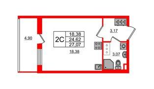 Квартира в ЖК «Солнечный город», студия, 24.62 м², 8 этаж